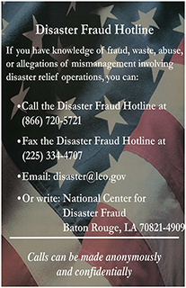 Disaster Fraud Hotline Poster